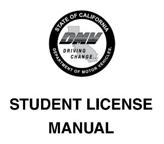 California DMV student license manual cover